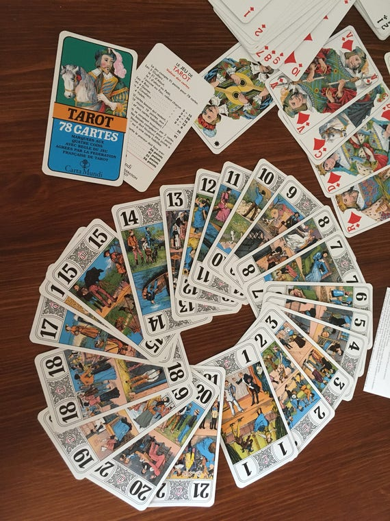 French Vintage Playing Cards, 1960's Jeu De Tarot, French