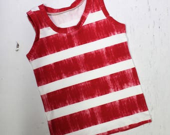 Red Stripe Tank, Boys & Girls Sleeveless Summer Tank, Toddler Shirt, Beach Tank, Muscle Tank, Variegated Red and White Stripe
