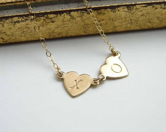 Initial Heart Necklace ~ Double ~ Handstamped ~ Personalaized  Heart Necklace ~ Alphabet ~ Gift for Her ~ Bridesmaid Gift ~ Friendship
