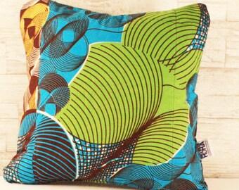 Block Print Throw Cushion - Turquoise Geometrics