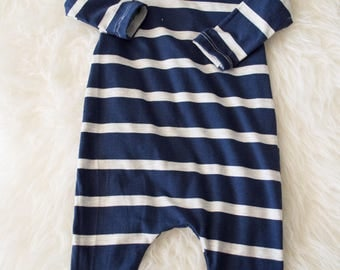 blue and grey stripe bamboo pull on romper 3-6 month. ready to ship