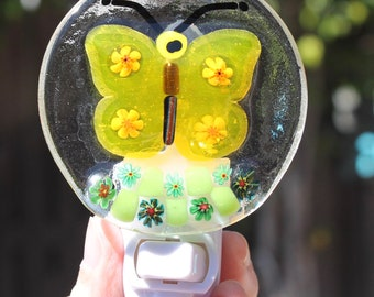 Nursery light-Butterfly-Night Light-Decorative Light-fused Glass-Night Light-Plug In-Wall Light-Nursery lamp-Baby gift