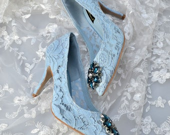 Swarovski crystal Vintage Court French Ice Baby Blue Guipure Lace & crystal bridal 'my something blue' mid heel shoe