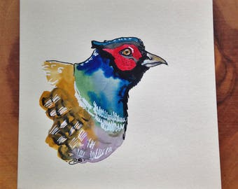 Pheasant Original Watercolour Card