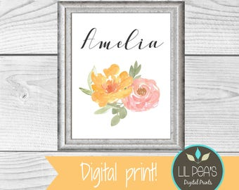 Watercolor Personalized Floral Nursery Art, Floral Name, Printable Floral Nursery Decor, Floral Baby Shower Gift, Watercolor Nursery Wall