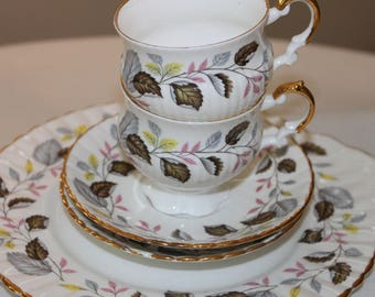 Vintage Royal Albert Autumn English Bone China Tea Set, Instant Tea Party China, Bridal Tea Party Table