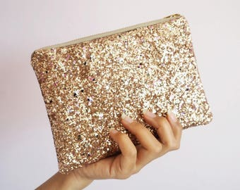 Rose Gold Rainbow Glitter Makeup Bag, Sparkly Rose Gold Cosmetic Bag, Rose Gold Glitter Clutch Bag, Rose Gold Zipped Pouch, Sparkly Bag,