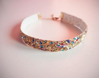 Multicoloured Gold Glitter Choker, Sparkly Gold Choker Necklace, Multicoloured Gold Choker, Sparkly Rainbow Gold Necklace, Gifts for Her,