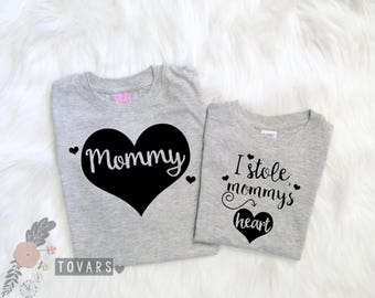 Mommy and Me I stole Mommy's Heart- Mommy and Daughter Set- Mommy and Son Set- Mommy and Baby Outfit-Mommy and Me Shirts-Matching Shirt