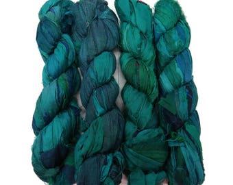 New! Recycled Sari Silk Ribbon, 100g skeins , Teal Medley