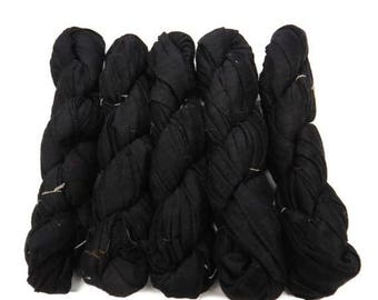 SALE Iridescent Hemmed Dupioni Sari Silk Ribbon  (Black)