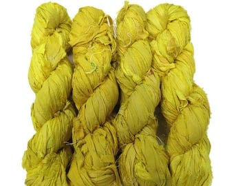 SALE New! Sari Silk Ribbon, 100g , Color: Sun