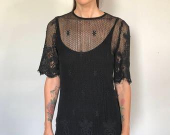 Gorgeous 70s Transparent Cotton Lace Dress. Gorgeous Detail