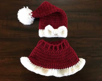 Crocheted Mrs. Claus Hat & Skirt Outfit Newborn Size