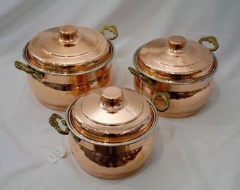Handmade Copper Pot Set, copper pot, copper cookware, cooking pot, copper cookware, pot, pot set