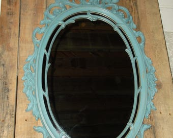 Vintage Hollywood Regency Baroque Oval Mirror French Country Inspired Large Mirror