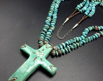 Vintage Zuni NAVAJO Heish CORAL & TURQUOISE Cross Necklace Sterling Silver
