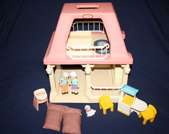 High Quality Complete Little Tikes Doll House Pink Grandmau0027s House With Pink Roof  Furniture Peoples