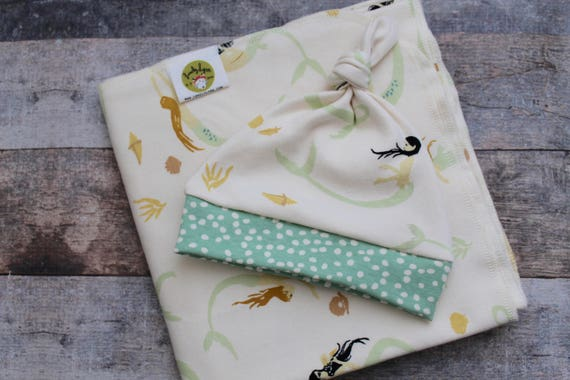Organic Baby Layette.  Baby Girl Going Home Set. Hospital Set.  Seafoam Green. Mermaids.  Hat and Swaddle Blanket. Baby Girl Photo Prop.