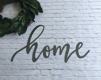"READY TO SHIP home metal word sign 28""x15"" farmhouse decor"
