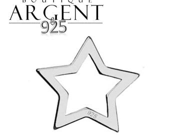 Openwork - 10.4 mm star shaped 925 sterling silver charm-
