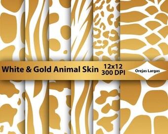 50% SALE White digital paper, gold animal skin, scrapbook paper, golden snake, giraffe, tiger, animal print, zebra, safari animals, golden b