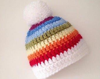 Rainbow hat - New born to Adult