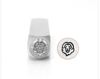 Lion Head Metal Design Stamp, 6mm , lion head punch