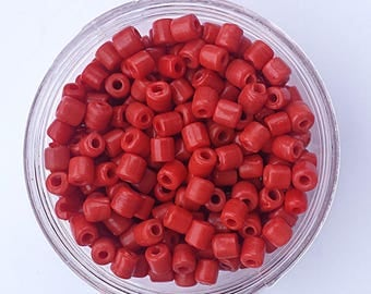 100 x Red Mini Tile Crow Glass Opaque Beads Size 7mm x 3mm with a 2mm hole