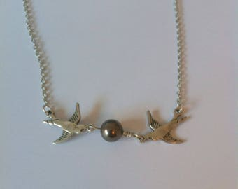 Vintage swallows and Pearl, silver and gunmetal necklace