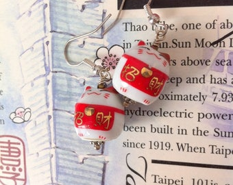 Kawaii maneki neko Zao Fu earrings
