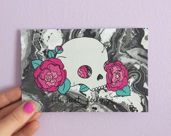 It's only feelings Postcard - Lovestruck Prints - skull postcard - Emotional