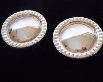 Mexican Sterling Earrings Large Clip Backs Ribbed Ribbed Edge Taxco Mexico