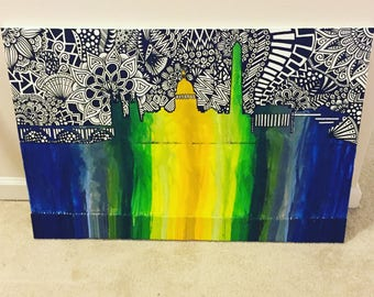 Skyline Crayon Art