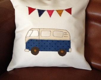 Applique cushion with Campervan design