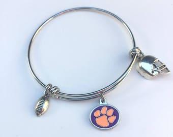 Clemson Tiger Paw Football Bracelet,  Clemson Tigers Paw Charm Bangle