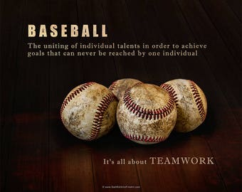 Baseball Photograph, Teamwork Inspirational Baseball Fine Art Print or Canvas Wrap, Customized Baseball Print or Canvas Wrap
