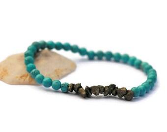 Turquoise Bracelet, Turquoise and Pyrite bracelet, Turquoise Jewelry, Mixed Stone Bracelet, Nugget Pyrite, Boho Wedding Bracelet, for her