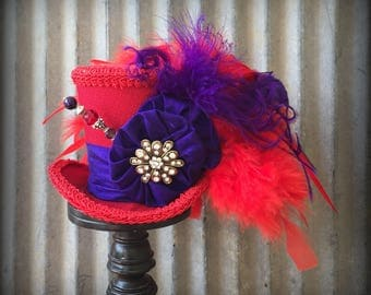 Red Hat Society Mini Top Hat, Red and Purple hat, Alice in Wonderland Mini Top Hat, Tea Party Hat, Mad Hatter Hat, Steampunk Mini hat