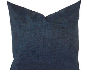 15% OFF SALE Two OUTDOOR Pillows - Navy Pillowcase - Navy Pillow Cover - Navy Solid Pillow - Blue Pillow Cover - Pillow Sham - Patio Pillow