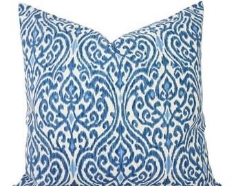 15% OFF SALE Decorative Pillows - Two Decorative Pillow Covers - Blue and Beige Ikat - 12x16 12x18 14x14 16x16 18x18 20x20 22x22 24x24 26x26