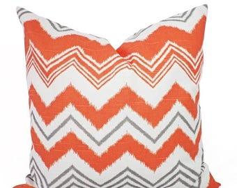 15% OFF SALE Decorative Pillow Covers - Two Orange and Grey Pillows - Orange Pillow Cover - Decorative Cover - Chevron Pillow - Orange Pillo