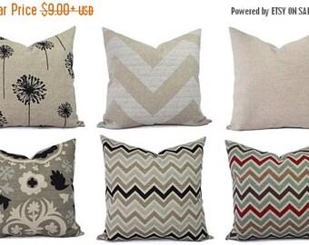 15% OFF SALE Burlap Pillows - Brown Decorative Pillow Cover - Black Pillow Cover - Brown Euro Sham - Brown Lumbar Pillow - Couch Pillow - Ru
