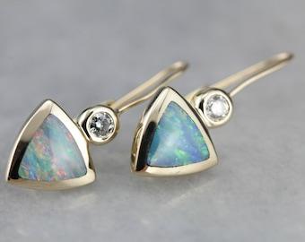 Opal and Diamond Earrings, Trillion Cut Opal, Gold Drop Earrings UDUMPU-D
