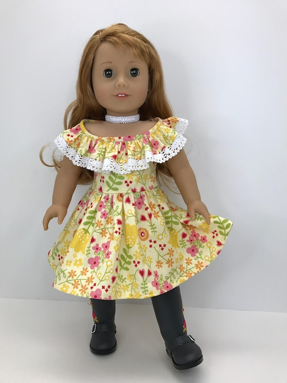 18 Pretty Halloween Makeup Ideas You Ll Love: 18 Inch Doll Clothes Pretty Yellow Flowered Ruffle Neckline