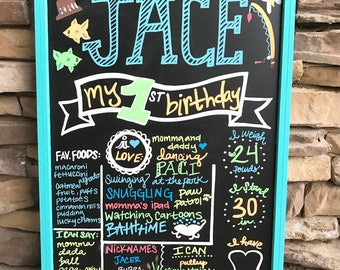 First birthday chalkboard Fishing first birthday chalkboard sign for party / photo prop