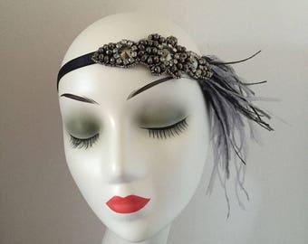 Art Deco Ostrich Feather Rhinestone Hair Clip Headband Gatsby Party Wedding Headpiece
