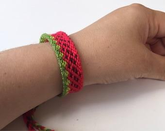 Watermelon bracelet Frienship bracelet Woven watermelon bracelet Summer anklet Pink fruit band Sweet gift