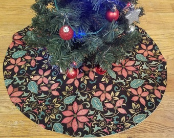 Red and gold metallic poinsettia tree skirt - 21""