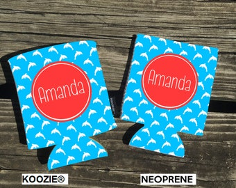 NOW Offering KOOZIE ® Brand koozies. Dolphin Background. Your choice of Neoprene or KOOZIE ® Brand. Vacation Coozies - Beach Koozies